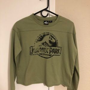 Jurassic Park Crop Top Tee Green Color Small A22P